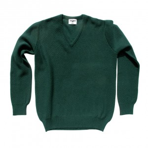 Honeycomb stitch 100% cashmere in holly green